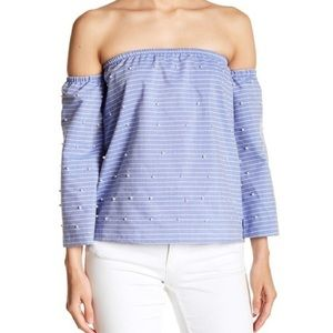 Romeo & Juliet Couture NWT Off Shoulder Pearl Top